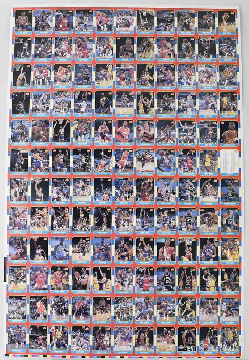 1986 fleer basketball uncut sheet